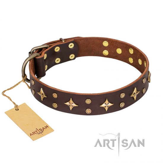 'High Fashion' FDT Artisan Embellished Brown Leather Dog Collar