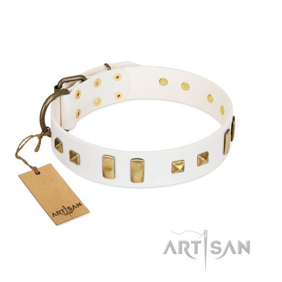 """Wintertide Mood"" FDT Artisan White Leather dog Collar with Old Bronze-like Plates and Studs"