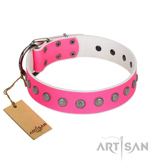 """Florescence"" Ultramodern FDT Artisan Pink Leather dog Collar Decorated with Silver-Like Studs"