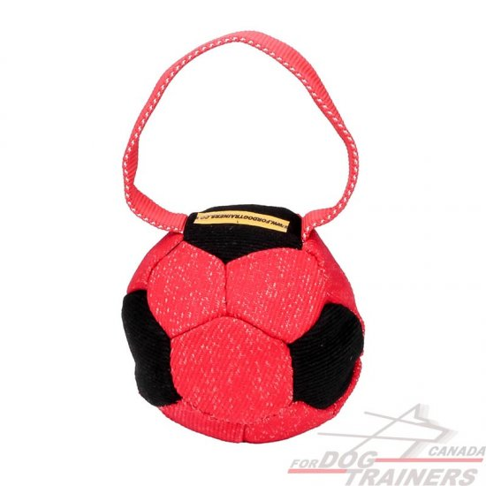 Colorful French Linen Dog Bite Tug with Handle - 'Soccer Fan'