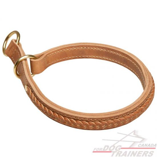 Braided Leather Choke Dog Collar Walking and Training