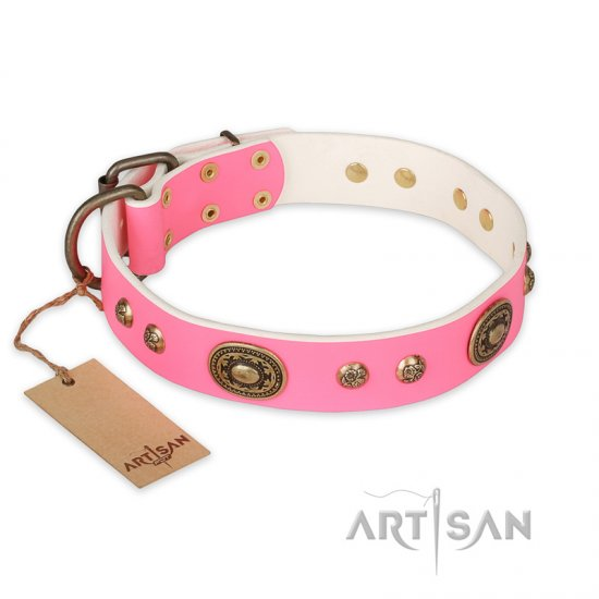 """Sensational Beauty"" FDT Artisan Pink Leather dog Collar with Old Bronze Look Plates and Studs"