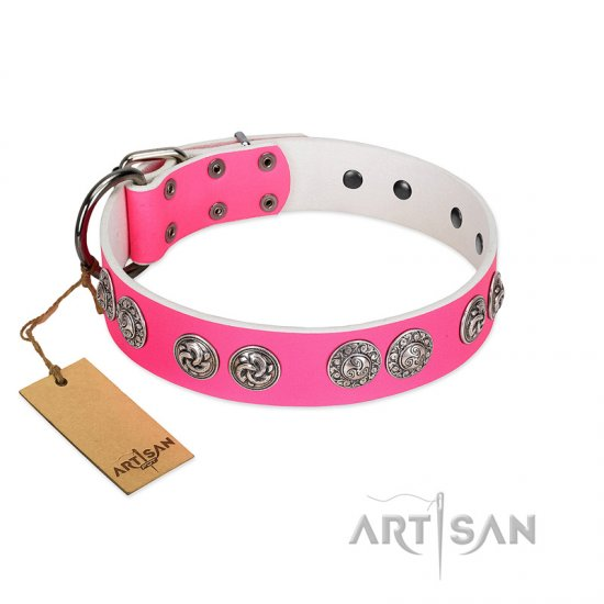 """Periapt of Power"" FDT Artisan Pink Leather dog Collar with Chrome Plated Medallions"
