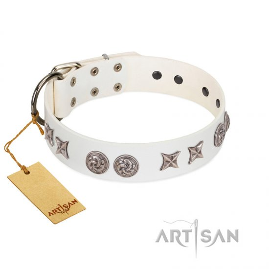 """Galaxy Hunter"" FDT Artisan White Leather dog Collar with Engraved Brooches and Stars"