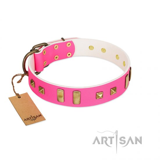 """Sweet Roll"" FDT Artisan Pink Leather Dog Collar Adorned with Plates and Square Studs"