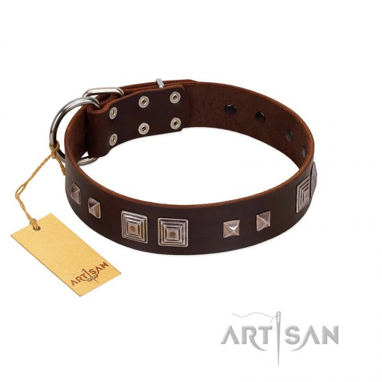"""Object of Virtu"" FDT Artisan Brown Leather dog Collar with Old Silver-like Square Studs and Pyramids"