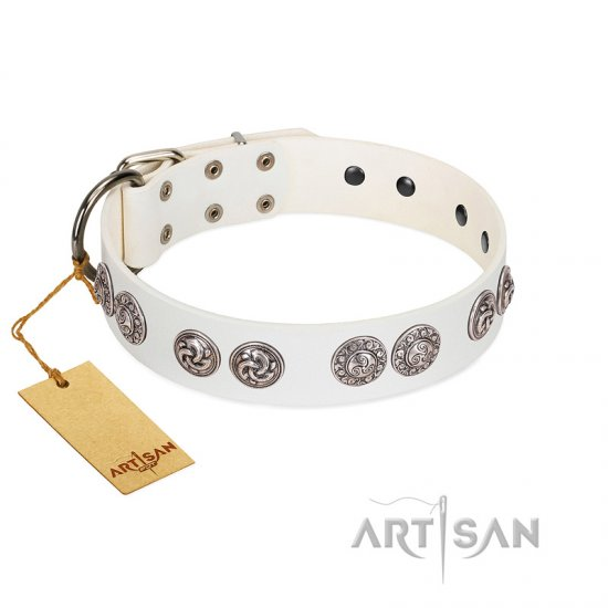 """Eye Candy"" Appealing FDT Artisan White Leather dog Collar with Chrome Plated Medallions"