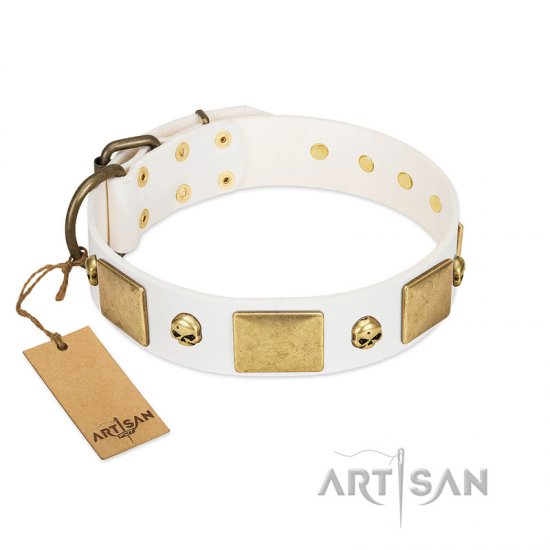 """Inspiration"" FDT Artisan White Leather dog Collar with Antiqued Skulls and Plates"