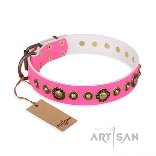 """Pink Gloss"" FDT Artisan Leather dog Collar with Old-Bronze Plated Circles and Studs"