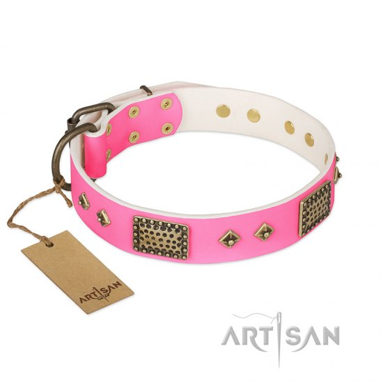 """Frenzy Candy"" FDT Artisan Decorated Pink Leather dog Collar"