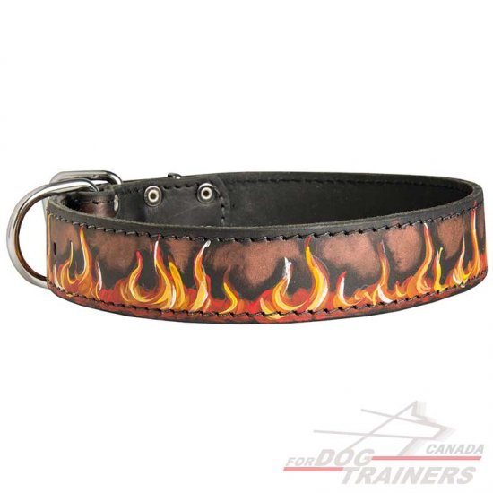 Designer Leather Dog Collar for Walking and Training Painted in Flames
