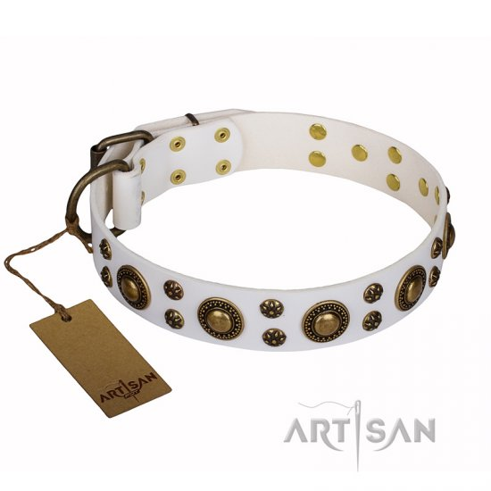 'White Gentle Feather' FDT Artisan Genuine Leather Dog Collar with Old-bronze Plated Decorations