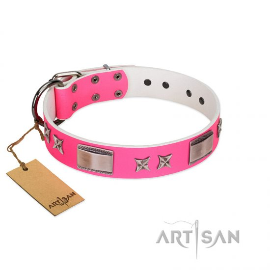 """Pinky Fantasy"" Pink FDT Artisan Leather dog Collar with Chrome-plated Stars and Large Plates"