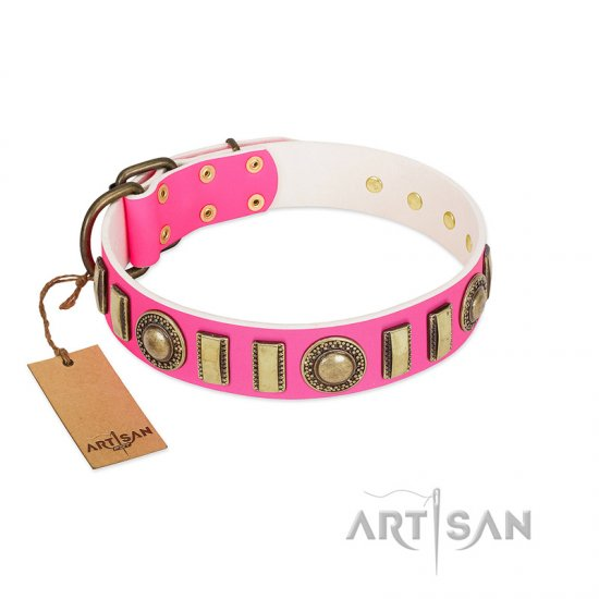 """La Femme"" FDT Artisan Pink Leather dog Collar with Ornate Brooches and Small Plates"