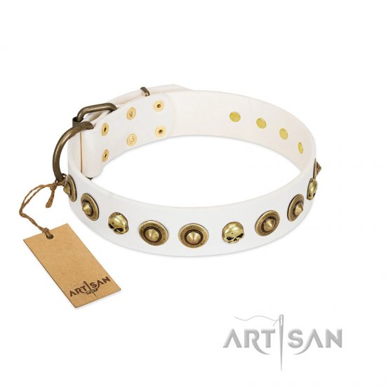 """Wondrous Venture"" FDT Artisan White Leather dog Collar with Skulls and Brooches"