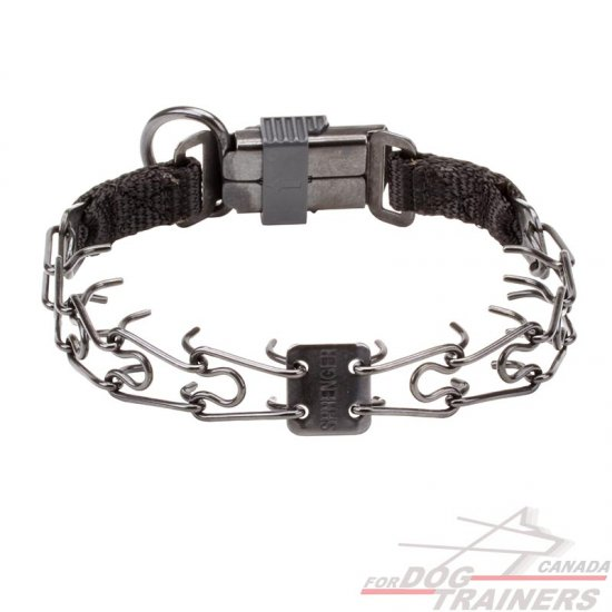 Dog Pinch Collar of Black Stainless Steel with Click Lock Buckle and 1/11 inch (2.25 mm) link diameter