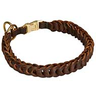 Braided Leather Choke Dog Collar with Easy Quick Release Buckle