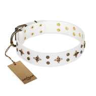 'Bright stars' FDT Artisan White Leather Dog Collar with Old Bronze Look Decorations - 1 1/2 inch (40 mm) wide