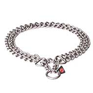 "Brushed Stainless Steel Dog Collar with 1/9 inch (3 mm) link diameter - ""Double Chain"""