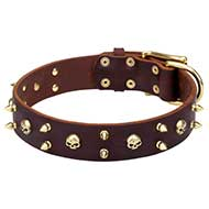 """Hard Rock"" Leather Dog Collar with Brass Spikes and Skulls"