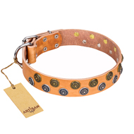 """Precious Sparkle"" FDT Artisan Tan Leather Dog Collar with Vintage Brooches"