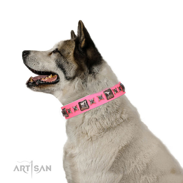 Trendy adorned genuine leather dog collar for comfortable wearing