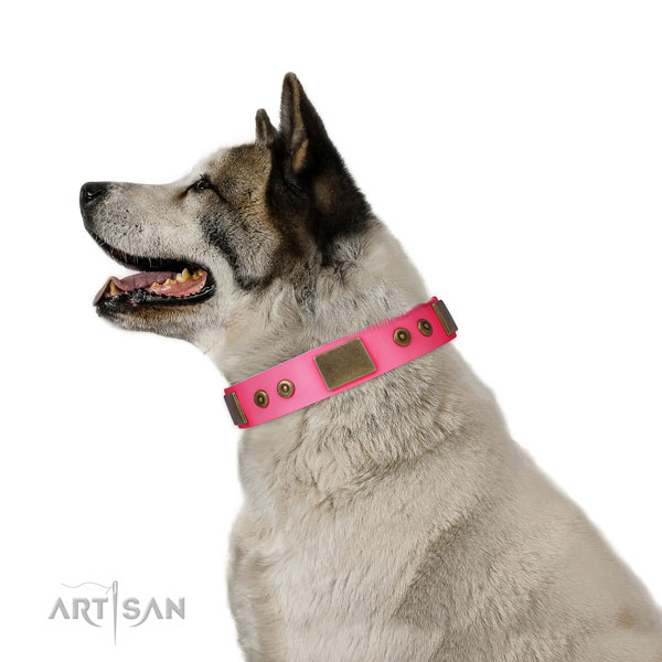 Awesome genuine leather collar for your lovely pet