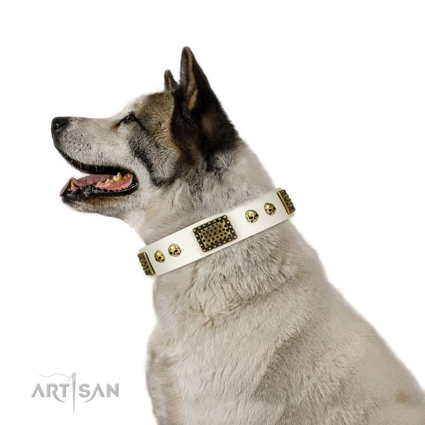 Strong D-ring on natural leather dog collar for handy use