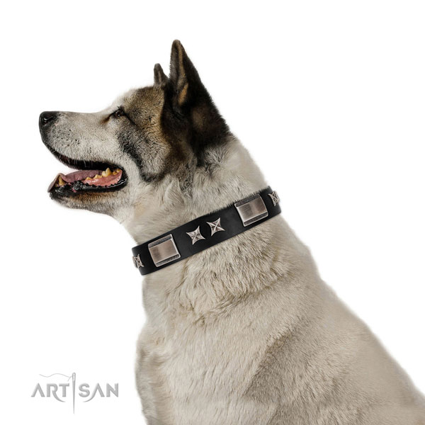 Easy wearing flexible full grain genuine leather dog collar with studs