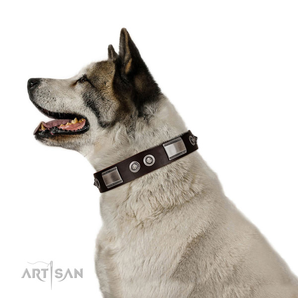 Stylish design collar of full grain natural leather for your canine