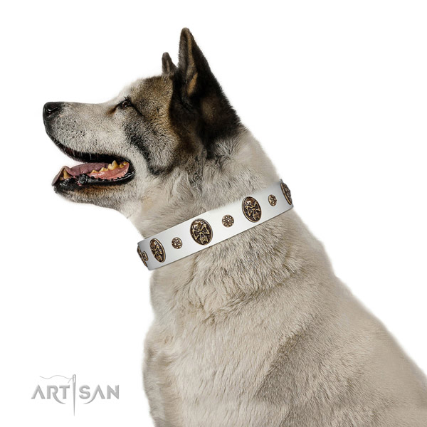 Easy wearing dog collar of natural leather with awesome embellishments
