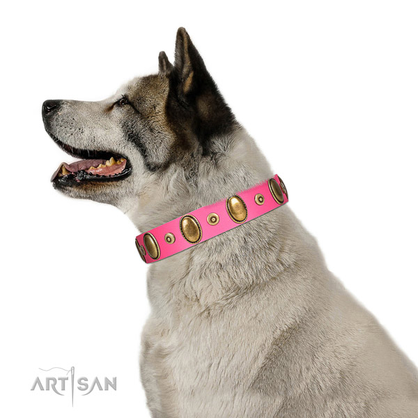 Corrosion resistant adornments on strong full grain natural leather dog collar