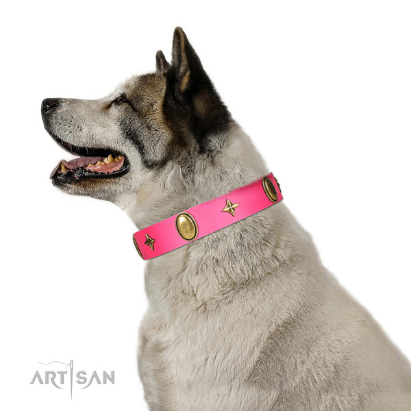 Soft genuine leather collar with top notch adornments for your dog