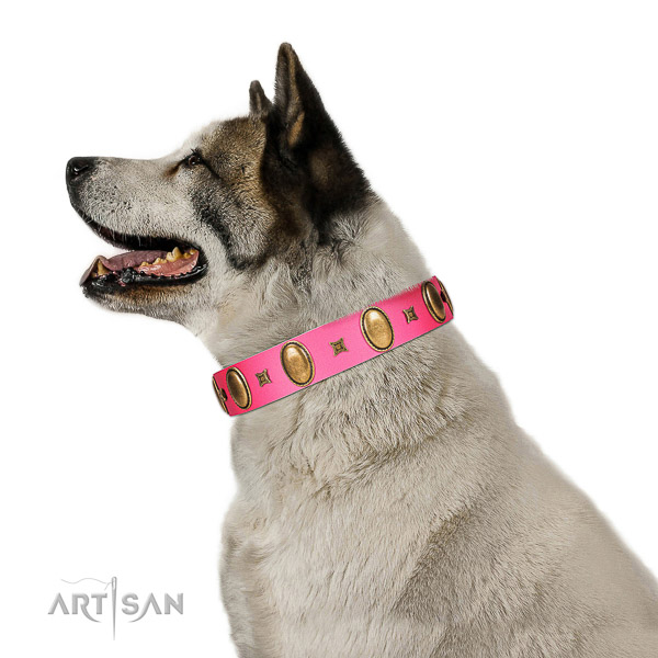Gentle to touch full grain genuine leather dog collar handmade of genuine quality material