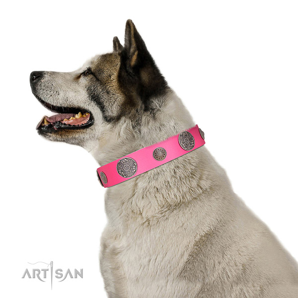 Corrosion proof D-ring on full grain genuine leather dog collar