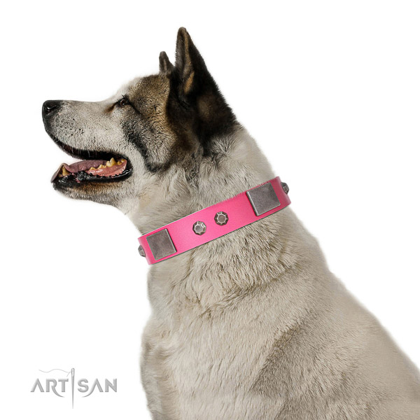 Inimitable full grain natural leather collar with decorations for your dog