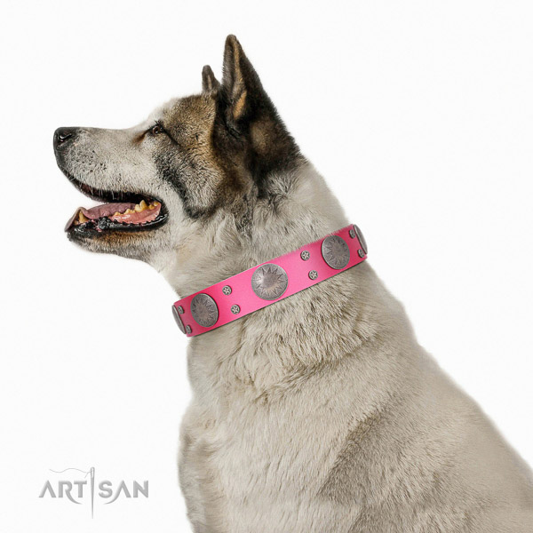 Everyday walking decorated genuine leather collar for your four-legged friend