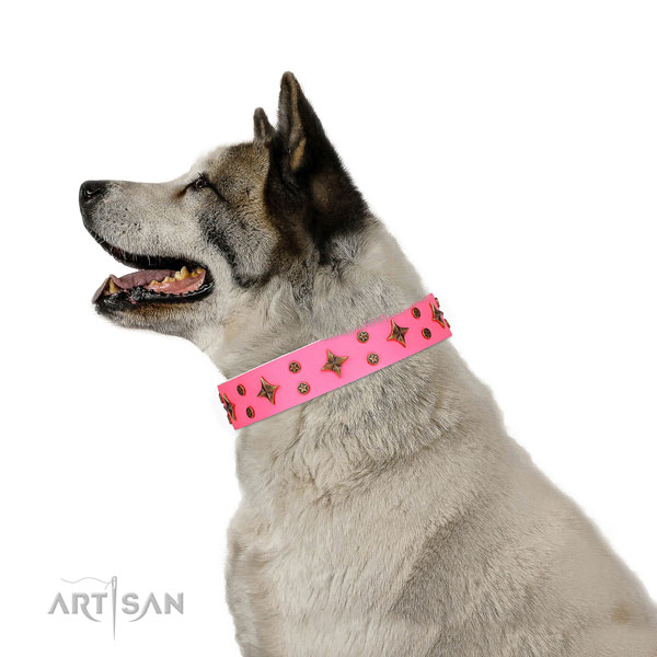 Akita-Inu stylish design full grain leather dog collar with adornments