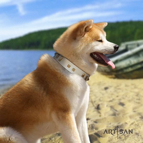 Akita Inu easy wearing natural leather collar with decorations for your dog