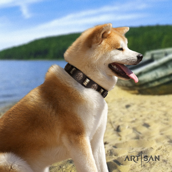 Akita Inu handy use genuine leather collar with studs for your doggie