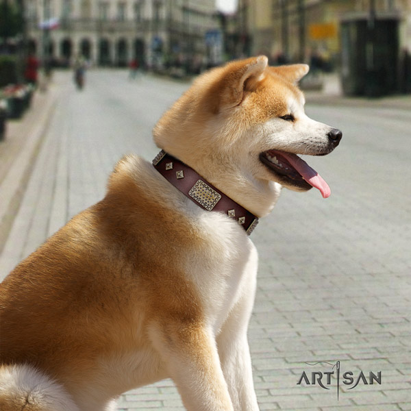 Akita Inu full grain leather dog collar with exquisite decorations