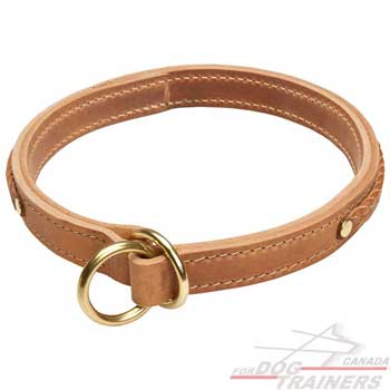 Choke Dog Collar Leather with Solid Stitched O-rings