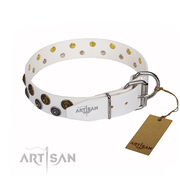 Handy use full grain natural leather collar with decorations for your canine