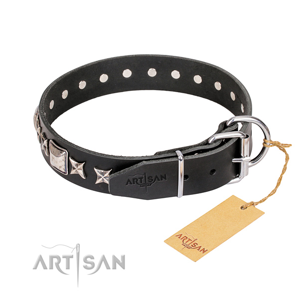 Handy use full grain natural leather collar with decorations for your doggie