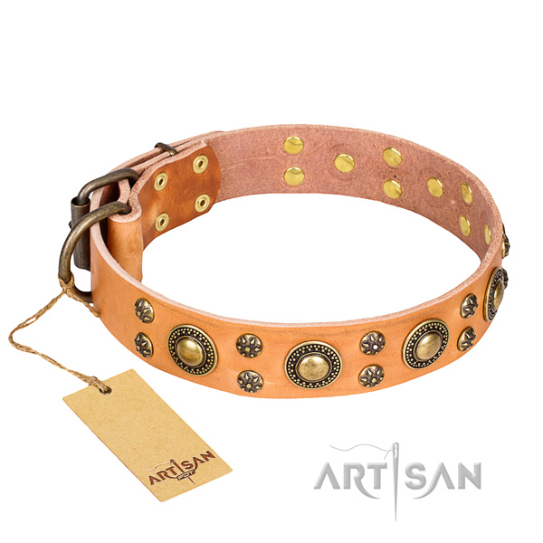 Remarkable natural genuine leather dog collar for handy use