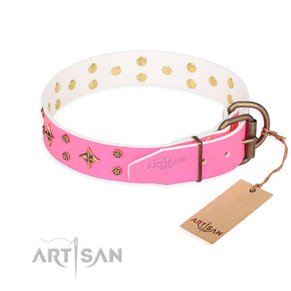 Everyday use natural genuine leather collar with studs for your four-legged friend