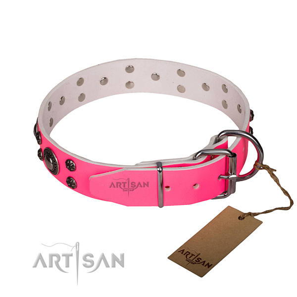 Everyday use natural genuine leather collar with corrosion proof buckle and D-ring