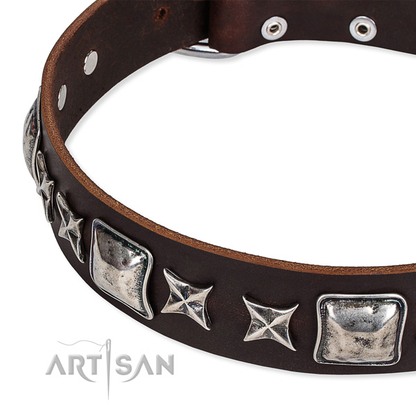Full grain genuine leather dog collar with embellishments for easy wearing