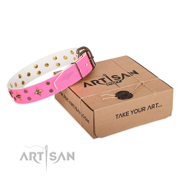 Adorned genuine leather dog collar for stylish walks