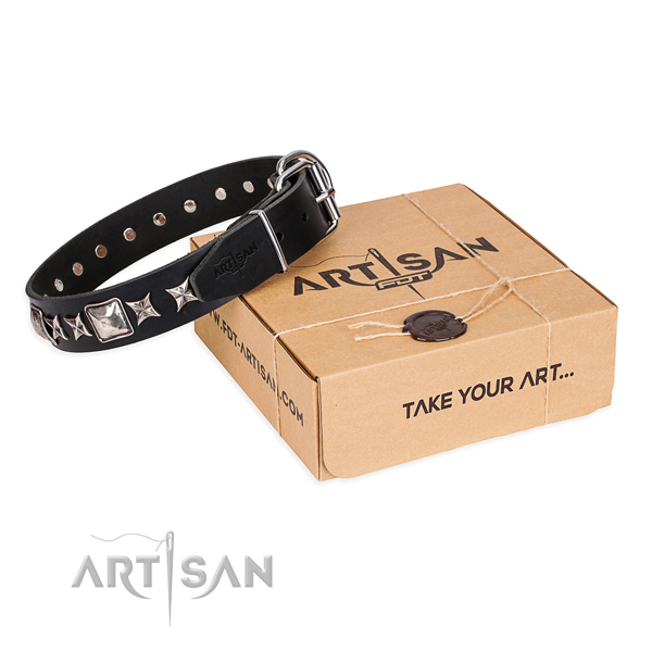 Adorned leather dog collar for easy wearing